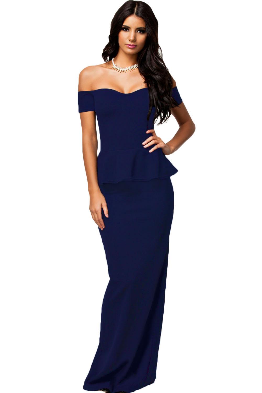 Dámské plesové šaty s peplum volánkem 17H modrá (Dámské šaty)