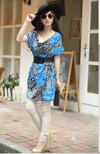 Letní dámská tunika s opaskem modrá (Dámské šaty/tunika)