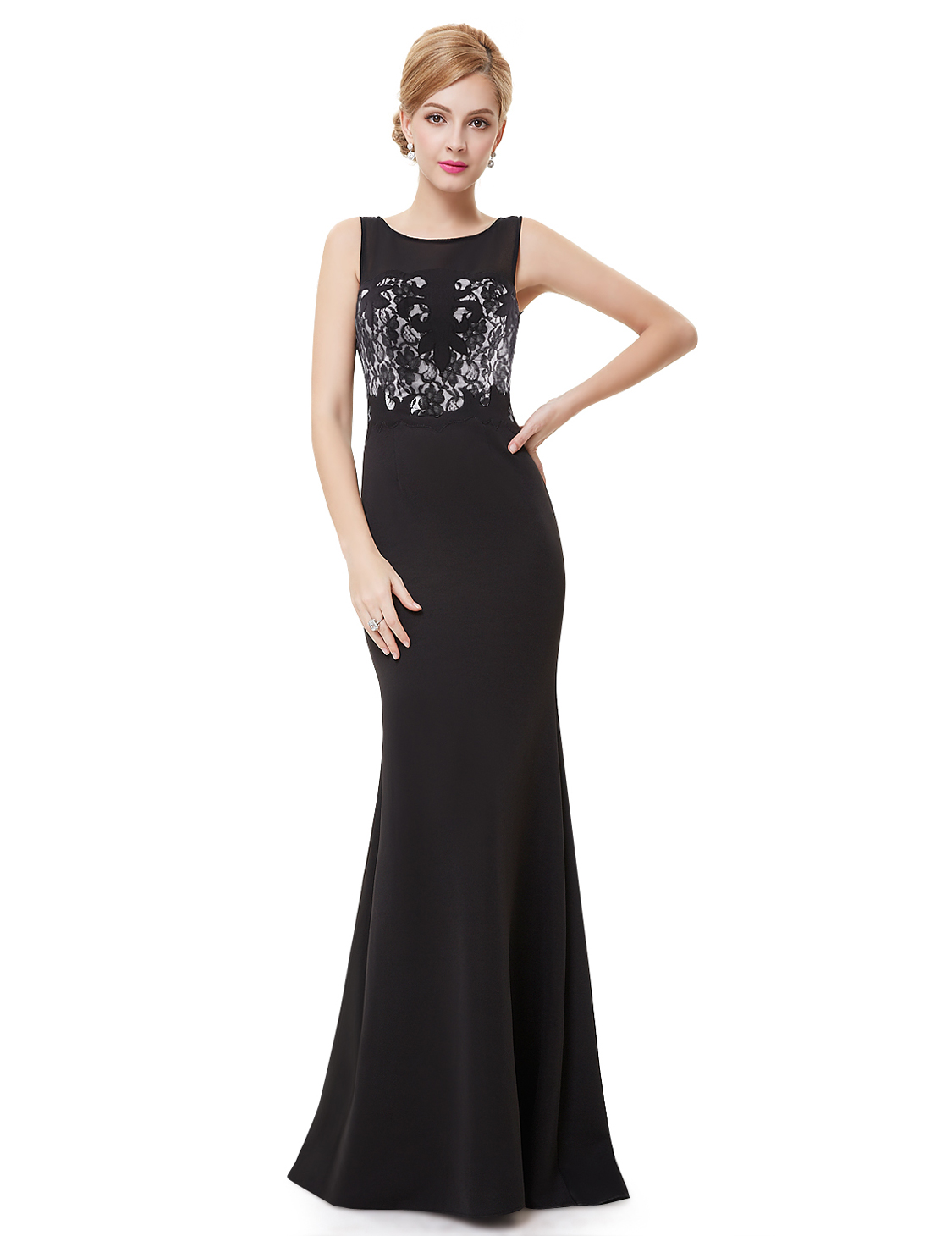 Ever Pretty plesové a společenské šaty12EVHE08446 černá (Dámské šaty)