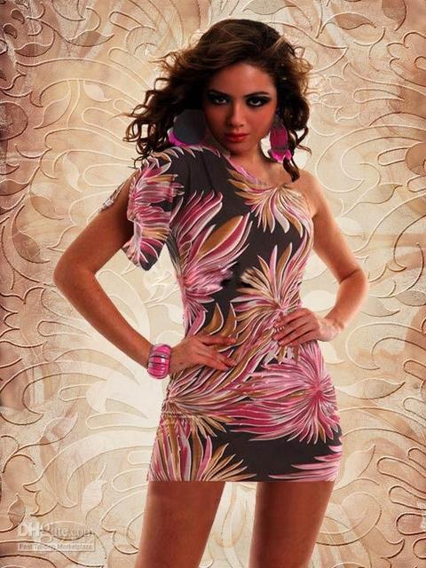 Dámské letní šaty na jedno rameno růžová (Dámské šaty)
