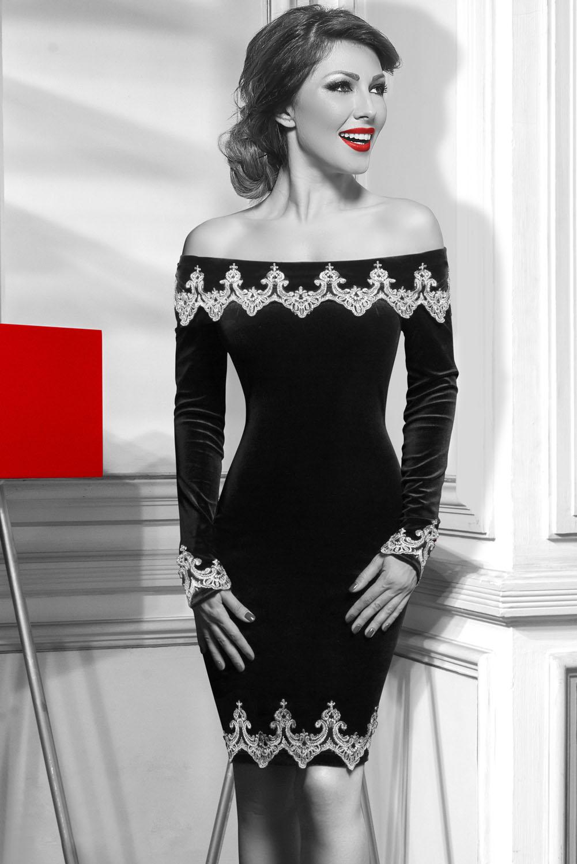 Sametové společenské šaty 31H22885 černá (Dámské šaty)