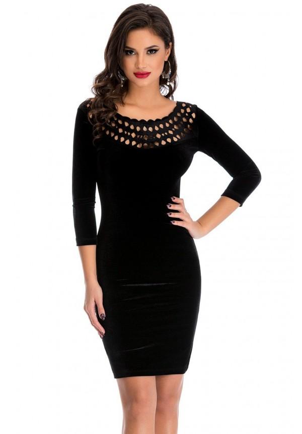 Dámské sametové mini šaty černá (Dámské šaty)