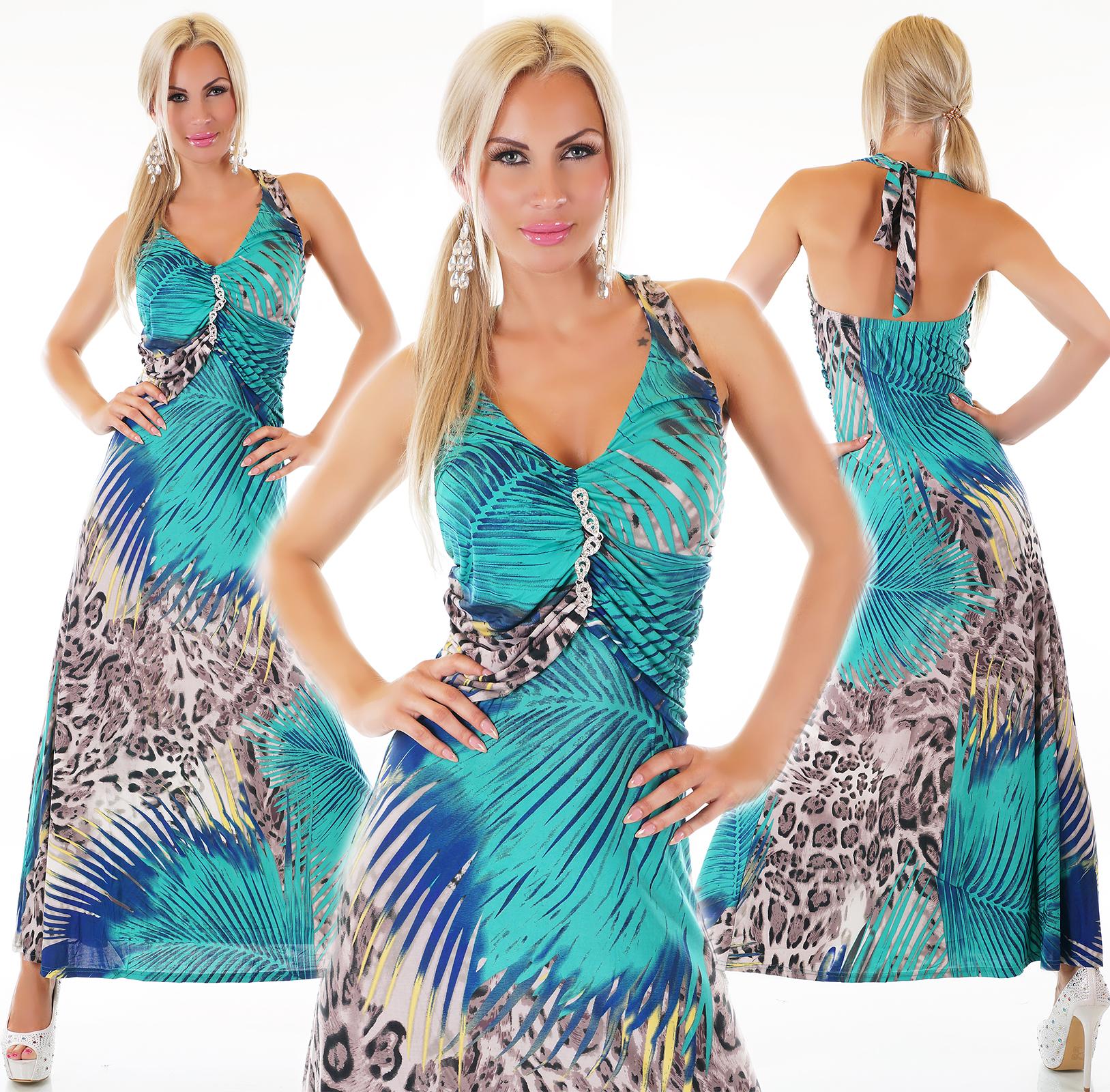 Dámské šaty dlouhé barevné se štrasovou ozdobou eac86f2b72