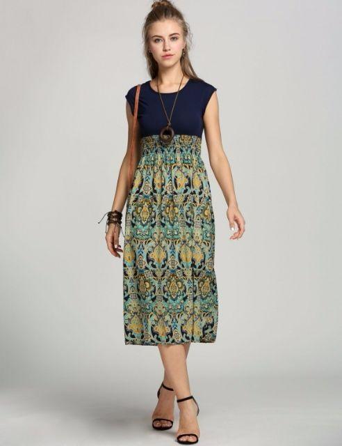 Dámské midi šaty modrá (Dámské šaty)