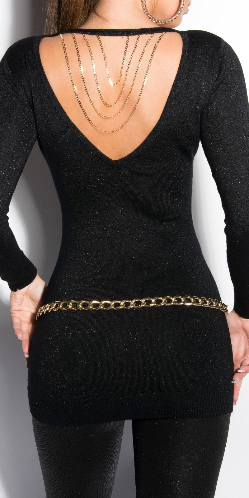 Dámský dlouhý svetr Koucla s řetízkem černá (Dámský svetr)
