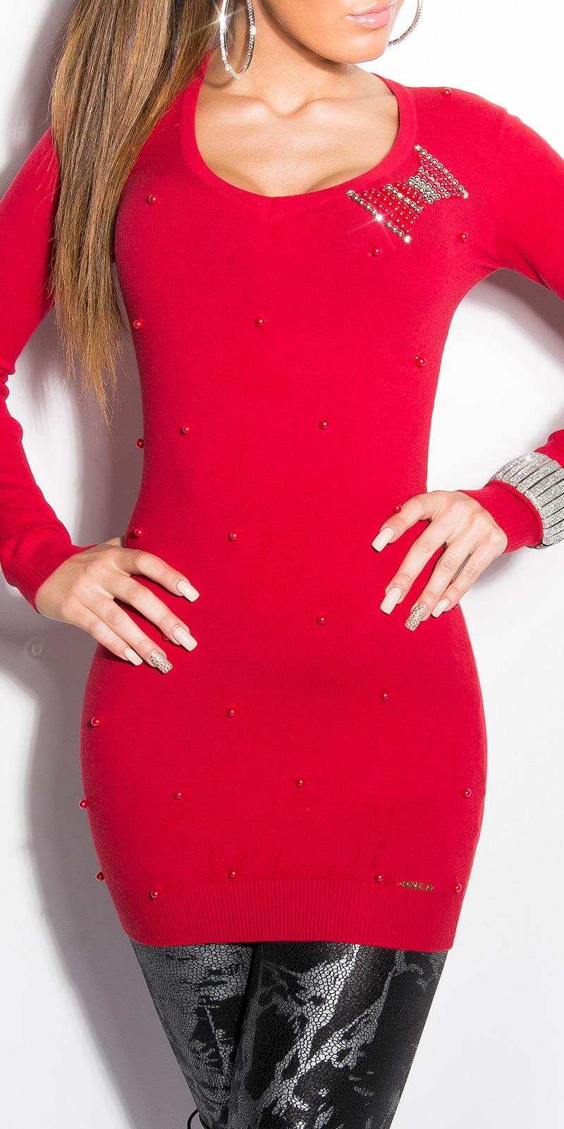 Dámský dlouhý svetr Koucla s korálky červená (Dámský svetr)