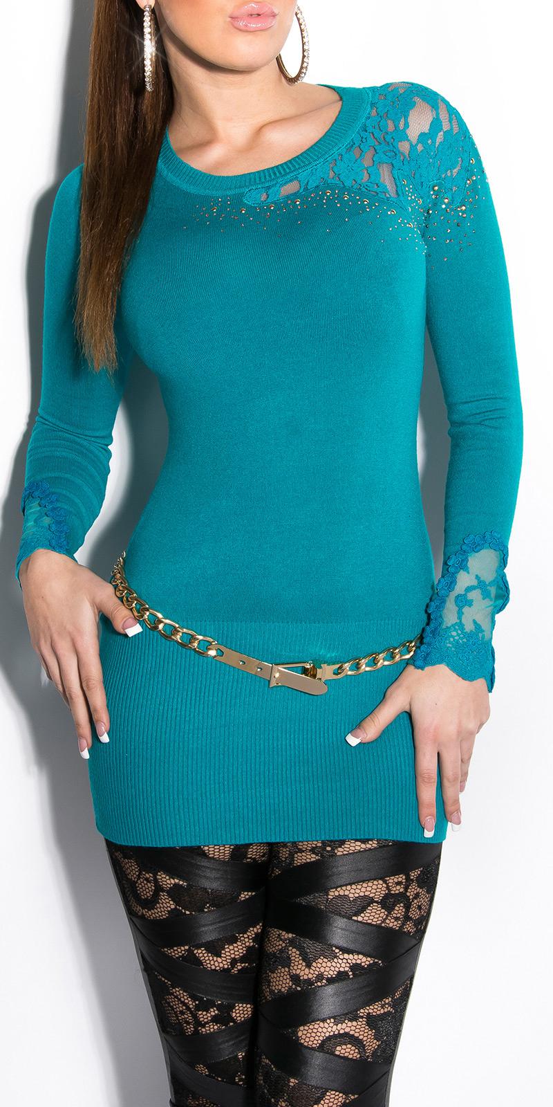 Dámský dlouhý svetr s krajkou a kamínky Koucla safír (Dámský svetr)