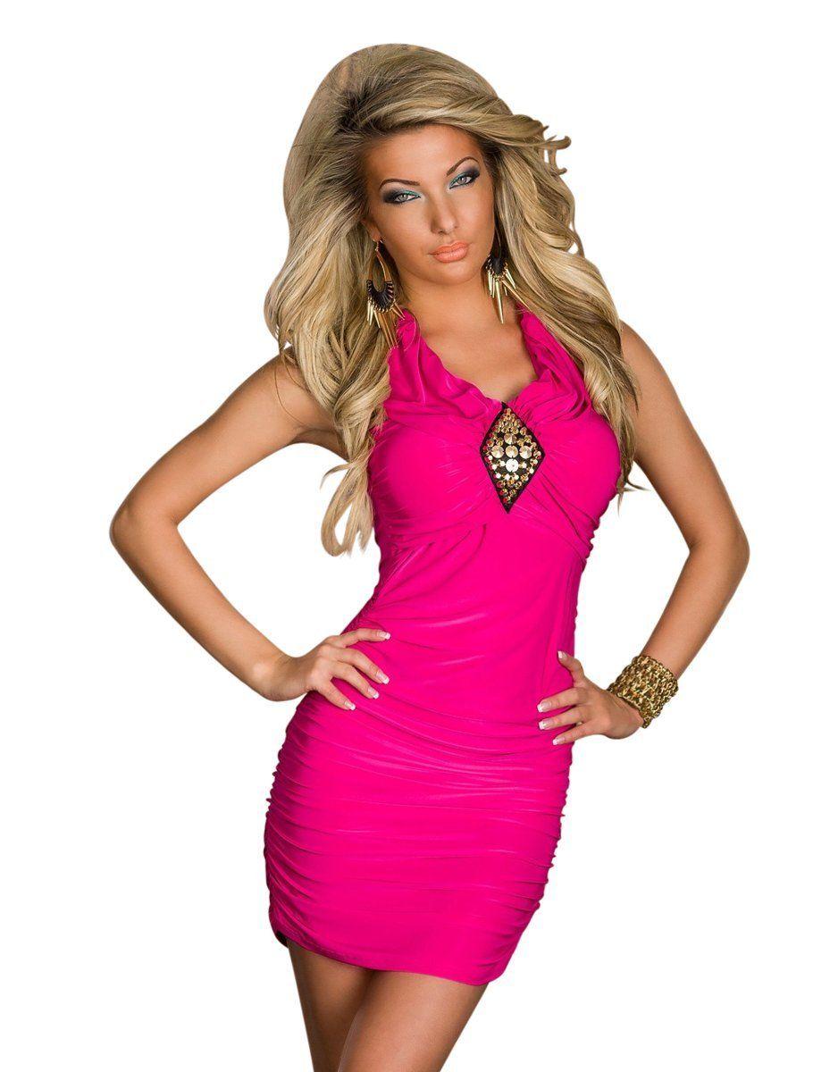 Dámské sexy mini šaty s řasením růžová 44ba76a788