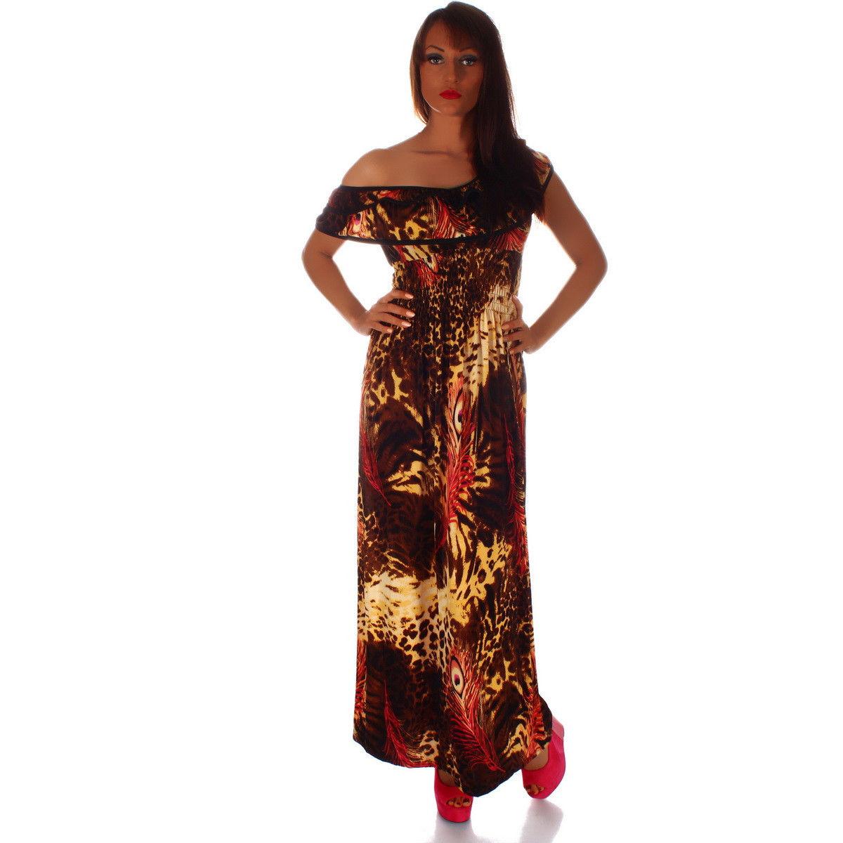 Dámské letní maxi šaty hnědá (Dámské šaty )