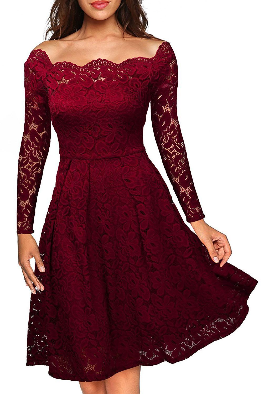 Společenské krajkové šaty bordó (Dámské šaty)