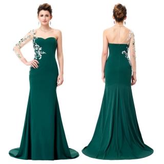 Dámské společenské šaty s vyšívaným rukávem zelená 2. jakost empty 9443f2e66e
