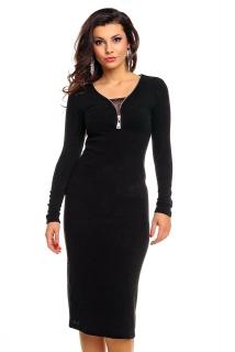 Úpletové dámské midi šaty Emma Ashley 2516 černá empty ed435bac7a3