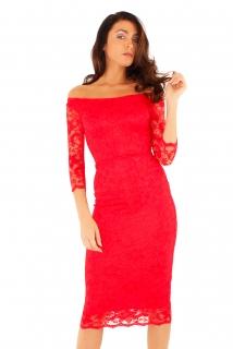 Společenské krajkové midi šaty Zn. Ly xx červená empty abee1d13d4
