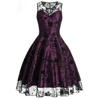Dámské Retro šaty se sametovým potiskem 2. jakost empty e532356854