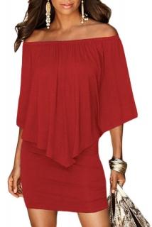 Dámské šaty s volánem červená empty 96ce19ea189
