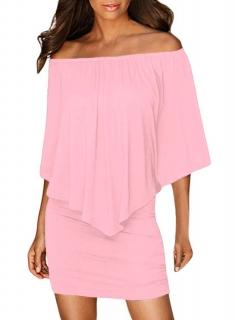 Dámské šaty s volánem růžová empty cc12c982d64