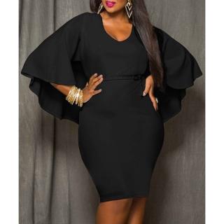 Dámské šaty s volánem pro plnoštíhlé dámy 3076 černá empty 667dd67c2c7