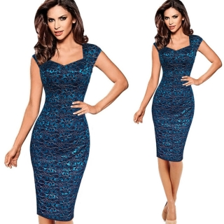Společenské pouzdrové šaty modré ... 2367d181119