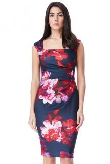 Elegantní pouzdrové šaty s květy pro plnoštíhlé dámy ... 8eca2a790c6
