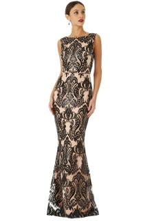 3e4597dcbffe Dámské dlouhé společenské šaty s flitry RIIKKA černá ...