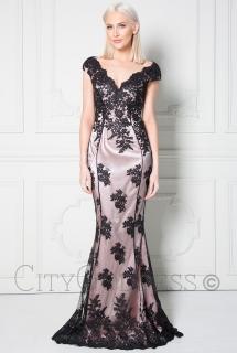c756e4fe02be Dámské dlouhé společenské šaty s flitry JESSY černá ...