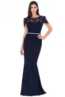 7adfe53ee952 Společenské dlouhé šaty se štrasovým páskem ELLIS modrá ...