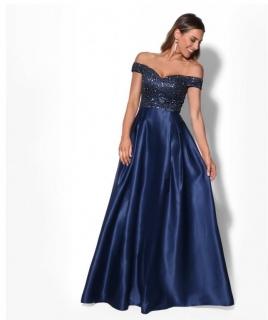 89f095d5f9bf Dámské společenské dlouhé šaty s flitry AURÉLINE modrá ...