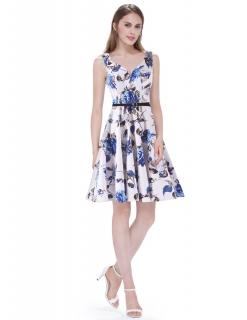 26a12cbb1d13 Dámské letní šaty EDITH s páskem modrá ...