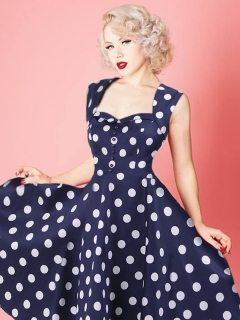 fa8a2fa5d9f6 Dámské puntíkované šaty MARION modrá ...