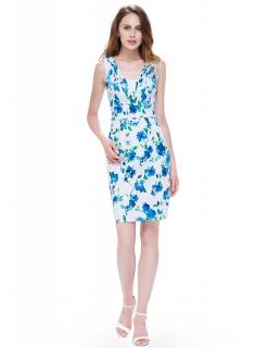 4af2c60f1add Dámské letní šaty ALAIS s květy modrá ...