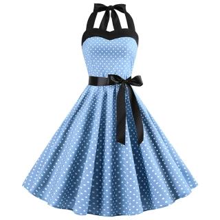 0a0c2a384cc4 Dámské šaty s vázáním za krk modré ...