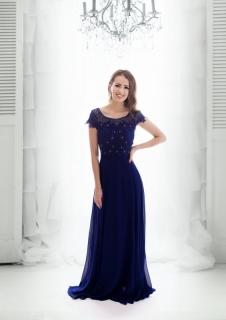 ca571bbb747c Dámské plesové a společenské dlouhé šaty JAMIE modrá ...